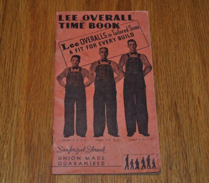 1938年発行 鉄道労働者向け Lee Overall Time Book表紙