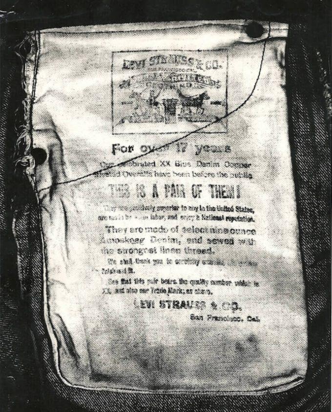 リーバイスのアーカイブに保管されているCalicoの内側に印刷されているギャランティーチケット