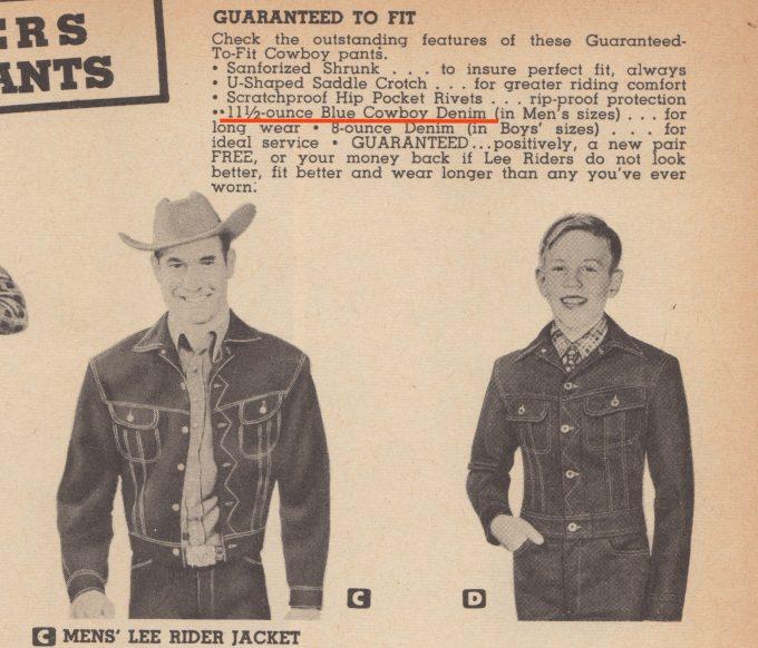 1949年発行カウボーイカタログのLeeデニム製品ページ