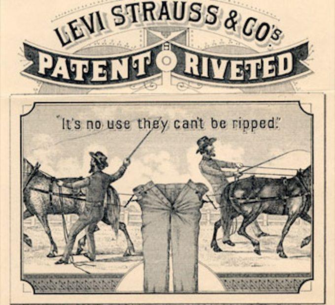 最初期と考えられるリーバイ・ストラウス社ツーホースロゴのイラスト