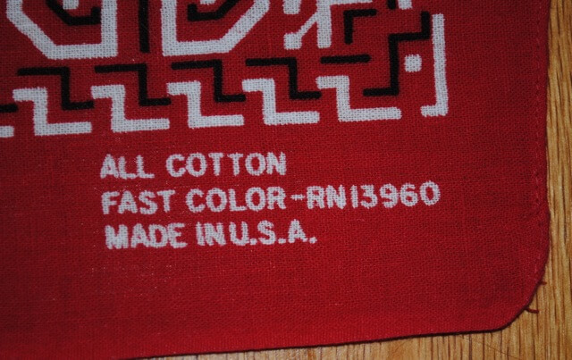 RN13960, All Cotton, Made in USA 表記