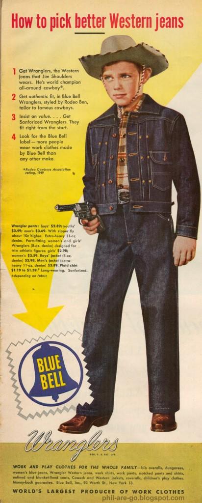 ラングラー・ファーストジャケット・ジーンズの広告の分析と年代の推定