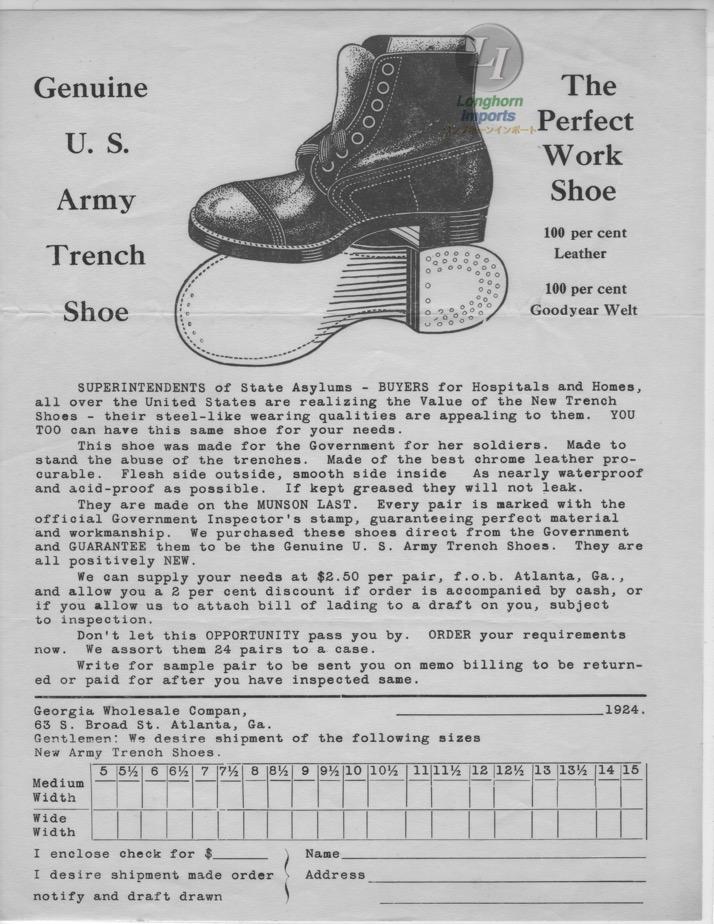 1924年の軍用シューズのオーダーフォーム