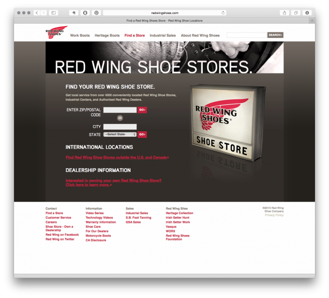US Red Wing Store Finder