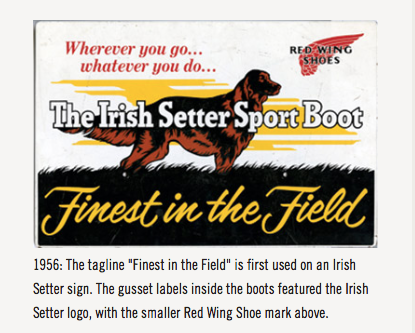 """タグラインに""""Finest in the Field""""が初めて使用されます。がセットにアイリッシュ雪駄のロゴが付きます。"""