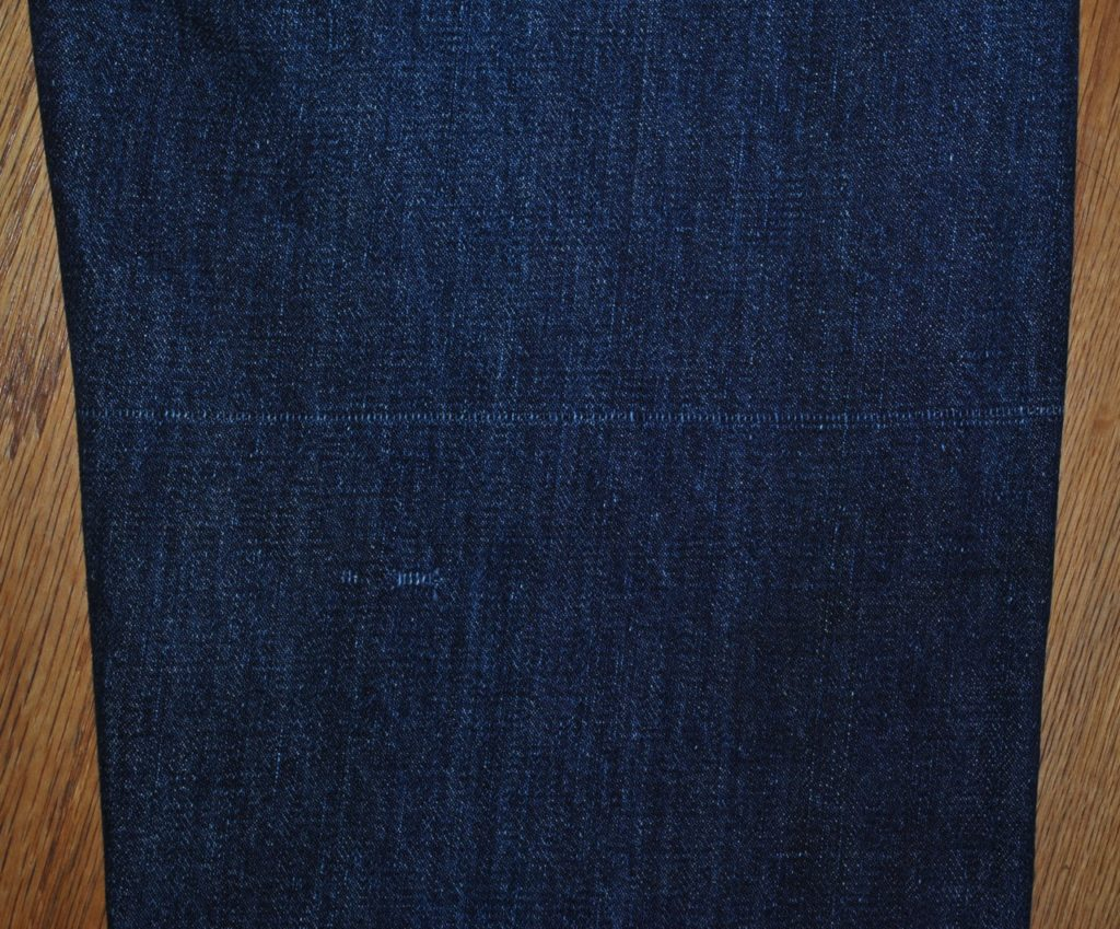 Vintage denim typical weave damage line
