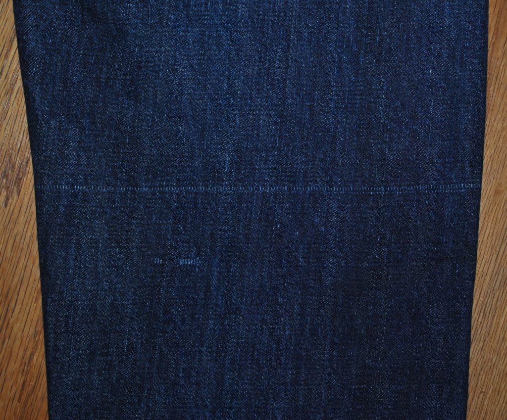 Vintage denim typical weave damage line