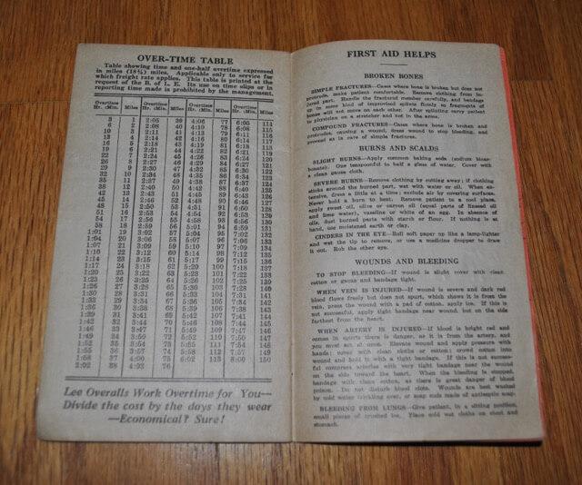 1938年のTime Book内のページ:残業早見表と怪我などの時の応急処置ガイド