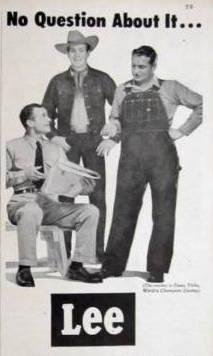 1951年のLeeの広告: Casey Tibbs